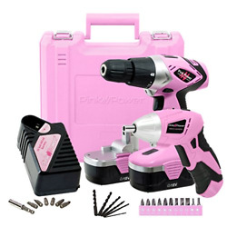 Pink Power Drill And Electric Screwdriver Tool Kit Pp1848k 18 Volt Cordless Set