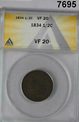 1834 Half Cent Anacs Certified Vf20 Classic Head 7695