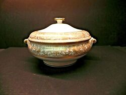 Scarce Florentine Gold Gold Dragons By Wedgwood Covered Serving Bowl