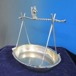 Antique Silverplate Nut Bowl Golf Clubs Squirrel Walker And Hall 1900 Unusual Form