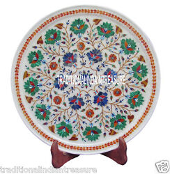 14 White Marble Round Dish Plate Real Inlay Malachite Collectible Decor Gifts