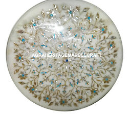 Round Coffee Table Marble Top Inlay Turquoise Marquetry Patio Decor Mosaic H918
