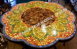 36 Marble Dining Table Top Mosaic Inlay Multi Stone Occasional Decorative H3444