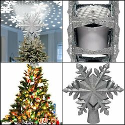Christmas Tree Snowflake Topper Projector Led Snowflakes Decorations 3d Light