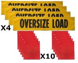 Mesh 18 X 84 Oversize Load Signs And Red 18 X 18 Mesh Safety Flags Value Pack