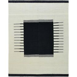 12and039x15and0391 Hand Woven Black Ethnic Design Flat Weave Kilim Reversible Rug R60302