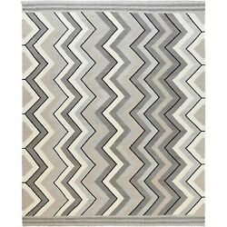 12and0394x15and039 Taupe Hand Woven Geometric Zigzag Design Flat Weave Kilim Rug R60060