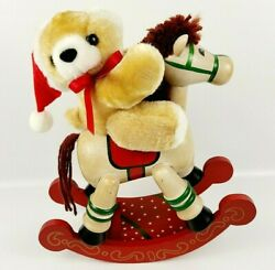 Vintage Christmas House Of Lloyd Wooden Musical Rocking Horse Wind Up Music Box