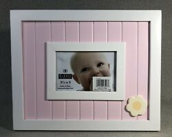 """Pink White Baby Wainscoting And Flower Frame For 3.5""""x 5"""" Photo - Burnes Of Boston"""