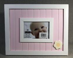 Pink White Baby Wainscoting And Flower Frame For 3.5andrdquox 5andrdquo Photo - Burnes Of Boston