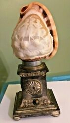 Rare Antique Cameo Dancing Girls Conch Shell Lamp Silver Tone Base Working Lamp