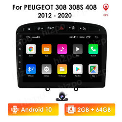 9android10 2+64gb Car Player Radio Gps Navigation For Peugeot 308 408 Subwoofer