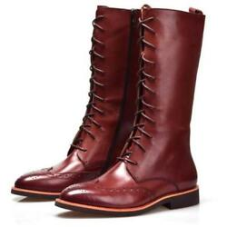 38-44 Brogue Mens Real Leather Riding Equestrian Boots Shoes Pointy Toe Casual L