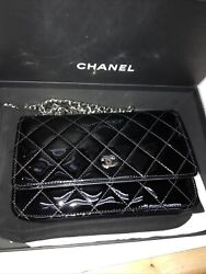 Quilted Mini Flap Wallet On Chain Black Patent Leather Shoulder Handbag