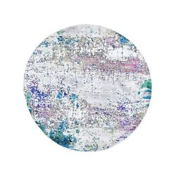 6and039x6and039 Ivory Abstract Design Wool And Sari Silk Hand Knotted Round Rug R59479