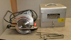 Porter Cable Rockwell 346 Circular Saw And Case Vintage Woodworking Tool S4
