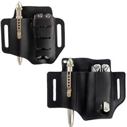 Tactical 1and2and3 Pockets Leather Tools Sheath Pouch Belt Pouch For Pen Knife Plier