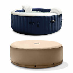 Intex Purespa 4 Person Inflatable Portable Heated Jet Hot Tub And Cover Package