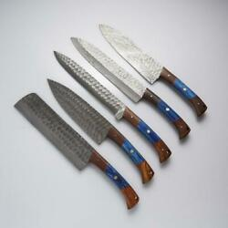 Handmade Damascus Professional Kitchen/bbq Knives Set With Leather Roll Kit