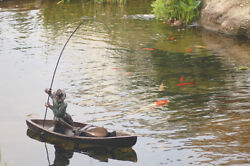 Bronze Sculpture Fisherman Fishing Rod Koi Pond Boat Will Compliment Fountain