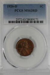 1926-d .01 Pcgs  Ms63rd  Lincoln Head Cent, Lincoln One Cent
