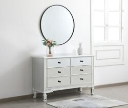 Antique White Mirrored Dresser Chest Living Room Bedroom 6 Drawers 48 Cabinet