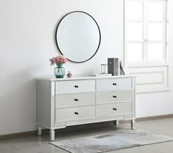 Antique White Mirrored Dresser Living Dining Room Bedroom 6 Drawer Chest Cabinet