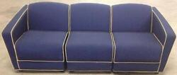 Vintage Jack Cartwright Modular 3 Sectional Fabric Sofa Blue And Maroon Free Ship