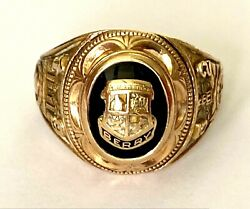 Vintage 1952 Sutto Minister Hj 10k Yellow Gold Class Ring Shield Berry Size 6.75