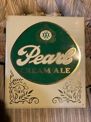 """Rare Vintage Pearl Beer Cream Ale Toc Advertising Sign Mancave 15.25""""lx13.25w"""