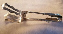 George Sharp Bailey And Co Coin Silver Silver Asparagus Tongs With Yoke 11.5