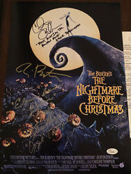Nightmare Before Christmas Signed X3 By Burton, Page And Sarandon 11x17 Photo