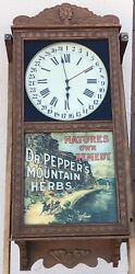 Vintage Dr Pepperandrsquos Herbs Saint Charles Wall Regulator Clock Natures Own Remedy