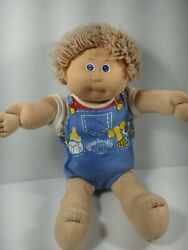 Vtg Cabbage Patch Kid Baby Blond Boy Blue Eyes Overall Coleco 1978-1982 Rare