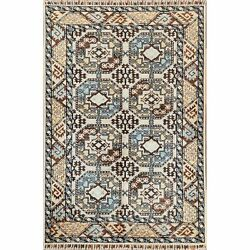 4and039x5and03910 Wool Afghan Ersari Elephant Feet Design Ivory Hand Knotted Rug R60014