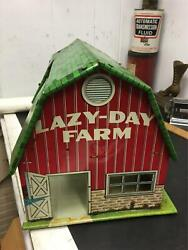 Vintage Antique Tin Toy Marx Lazy Day Farm Litho Metal Barn For Play Animals