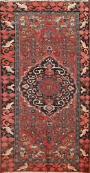 Antique Traditional Geometric Hand-knotted Bird Design Area Rug Wool Carpet 4x6