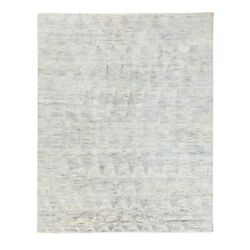 7'10x10' Silk With Text Wool Repetitive Curvilinear Design Handmade Rug R58607