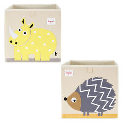 3 Sprouts Children#x27;s Foldable Fabric Storage Box Soft Toy Bins Hedgehog amp; Rhino