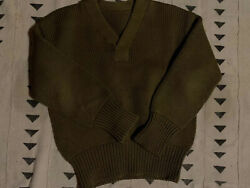Olive Medium Vintage V Neck Military Knit Sweater Condition Is Perfect