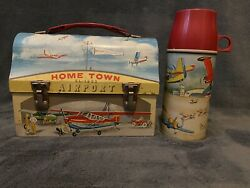 Vintage 1960 Hometown Airport Metal Lunchbox And Thermos