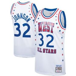 Los Angeles Lakers Magic Johnson Mitchell And Ness White 1983 Asg Authentic Jersey