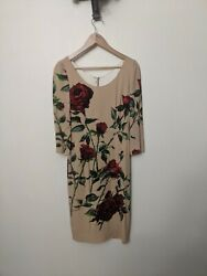 Nwt Dolce And Gabanna Pencil Dress Tan With Red Roses It40 Us 2 4andnbsp Christmas