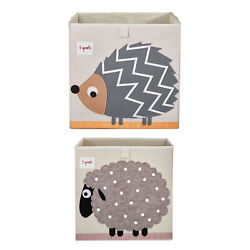 3 Sprouts Children#x27;s Foldable Fabric Storage Box Soft Toy Bins Hedgehog amp; Sheep