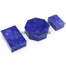 Antique Jewelry Boxes, Set Of 3 Boxes,over Laid With Lapiz Lazuli Gem Stone,gift