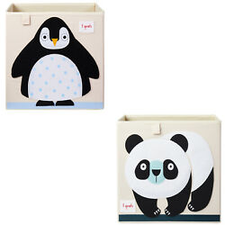 3 Sprouts Kids Foldable Fabric Penguin and Panda Storage Cube Soft Toy Bins