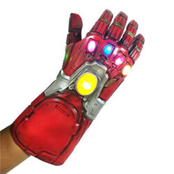 Iron Man Infinity Gauntlet w LED Light Gloves for Cosplay Avengers Endgame Red