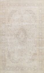 Antique Muted Traditional Distressed Handmade Evenly Low Pile Wool Area Rug 9x12