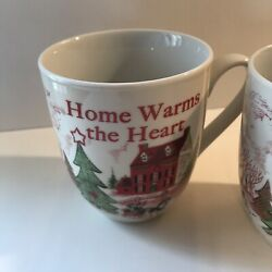 2 Fitz And Floyd Home Warms The Heart Christmas Holiday Mugs Cake Cup Cozy