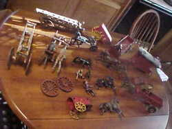 Antique Lot Original Paint Cast Iron Toy Parts Water Tower Wagons Foxy Grandpa